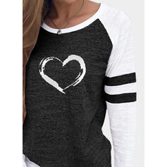Color Block Heart Print Round Neck Long Sleeves T-shirts