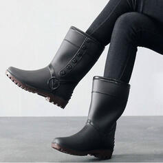 PVC Low Heel Mid-Calf Boots Snow Boots Rain Boots Round Toe Slip On With Solid Color shoes
