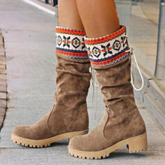 Women's PU Flat Heel Mid-Calf Boots Round Toe Winter Boots With Lace-up Splice Color shoes