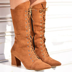 Women's Suede Chunky Heel With Rivet Zipper Tassel Solid Color shoes
