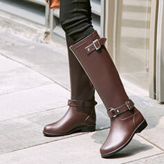 PVC Flat Heel Knee High Boots Rain Boots Round Toe With Buckle shoes