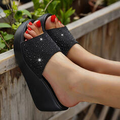 Women's PU Wedge Heel Sandals Platform Wedges Peep Toe Slippers Heels With Hollow-out Dot shoes