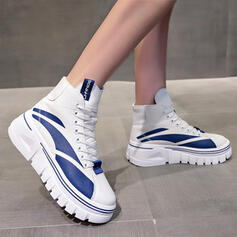 Women's PU Flat Heel Flats Ankle Boots High Top Round Toe Sneakers With Lace-up Splice Color shoes