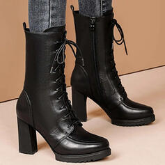 Women's PU Chunky Heel Martin Boots With Zipper Lace-up Solid Color shoes