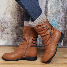 Women's PU Low Heel Boots Ankle Boots Sock Boots With Zipper Lace-up shoes