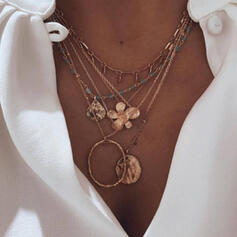 Vintage Boho Layered Alloy With Coin Flowers Necklaces (Set of 5)