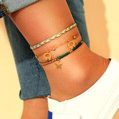 Round Layered Dainty Alloy With Star Anklets 3 PCS