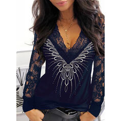 Solid Lace Sequins V-Neck Long Sleeves Elegant Blouses