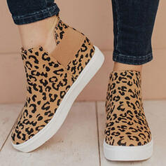 Women's Canvas Flat Heel Flats Boots Round Toe Slip On With Animal Print shoes