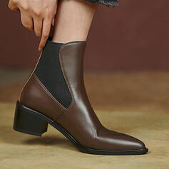 Women's Leatherette Chunky Heel Pointed Toe With Splice Color shoes