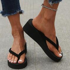 Women's PVC Wedge Heel Sandals Flip-Flops Slippers With Colorblock shoes