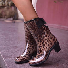 Women's PVC Chunky Heel Mid-Calf Boots Rain Boots High Top Round Toe With Hollow-out shoes