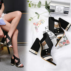 Women's PU Chunky Heel Sandals Pumps Peep Toe Heels With Imitation Pearl Elastic Band shoes
