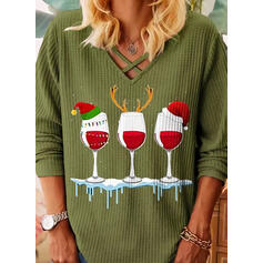 Print V-Neck Long Sleeves Christmas Knit Blouses