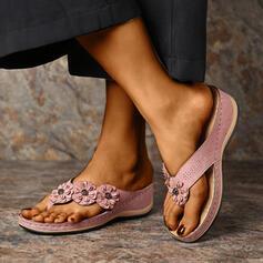 Women's PU Wedge Heel Sandals Flip-Flops Slippers With Flower shoes