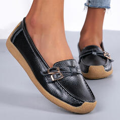 Women's Leatherette Flat Heel Flats Low Top Round Toe Slip On With Buckle Solid Color shoes