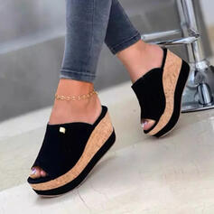 Women's Denim Wedge Heel Sandals Slippers With Solid Color shoes
