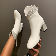 Women's PU Chunky Heel Boots With Rhinestone Solid Color shoes