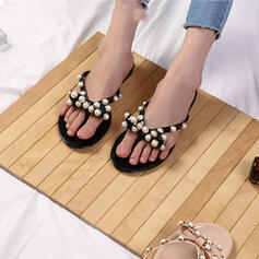 Women's PVC Flat Heel Sandals Flats Peep Toe Slippers With Beading Hollow-out shoes