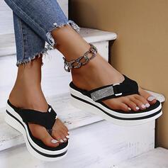Women's Suede Flat Heel Sandals Flip-Flops Slippers With Rhinestone Buckle shoes