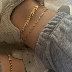 Layered Alloy Anklets 3 PCS