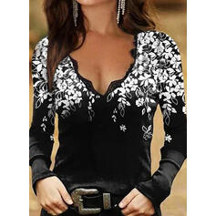 Floral Print Lace V-Neck Long Sleeves T-shirts