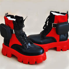 Women's PU Flat Heel Ankle Boots Martin Boots Round Toe With Buckle Splice Color shoes