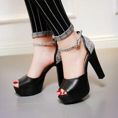 Women's PU Chunky Heel Sandals Pumps Peep Toe Round Toe With Sparkling Glitter Buckle shoes