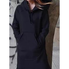 Solid Long Sleeves Shift Sweatshirt Casual Midi Dresses