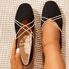 Women's PU Flat Heel Flats Round Toe With Crisscross Solid Color shoes