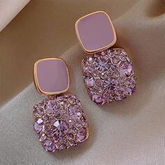 Square Alloy Rhinestones With Rhinestone Women's Earrings 2 PCS
