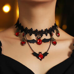 Bat Shaped Halloween Alloy Crystal Necklaces