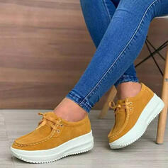 Women's Suede Flat Heel Flats With Lace-up Crisscross shoes