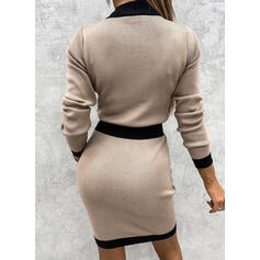Color Block Long Sleeves Bodycon Above Knee Casual Sweater Dresses
