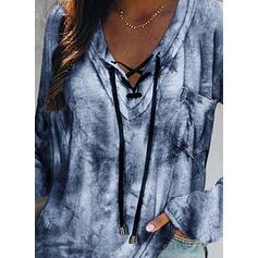 Tie Dye V-Neck Long Sleeves Casual Blouses