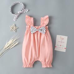 Baby Girl Bowknot Polka Dot Cotton One-piece