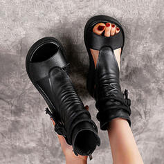 Women's PU Wedge Heel Sandals With Zipper Lace-up Solid Color shoes
