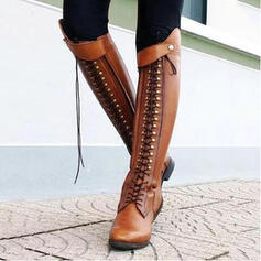 Women's Leatherette Low Heel Boots With Rivet Zipper shoes