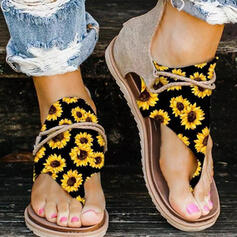Women's PU Flat Heel Sandals Flats Flip-Flops With Zipper Flower shoes