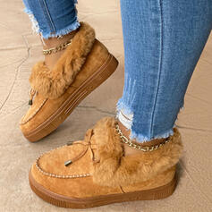 Women's Suede Flat Heel Boots Low Top With Lace-up Faux-Fur Solid Color shoes