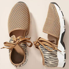 Women's Cloth Flat Heel Flats Low Top Round Toe Sneakers Loafers & Slip-Ons With Lace-up Hollow-out shoes