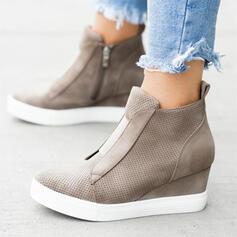 Women's Suede Wedge Heel Boots With Zipper shoes