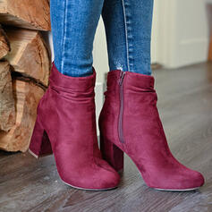 Women's Suede Chunky Heel With Solid Color shoes