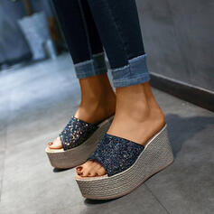 Women's PU Wedge Heel Wedges Peep Toe Slippers With Sequin shoes
