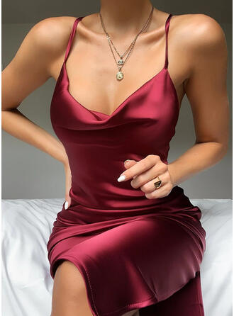 Solid Sleeveless Sheath Knee Length Sexy/Party Slip Dresses