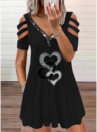 Print/Sequins/Heart Short Sleeves Shift Above Knee Casual Tunic Dresses