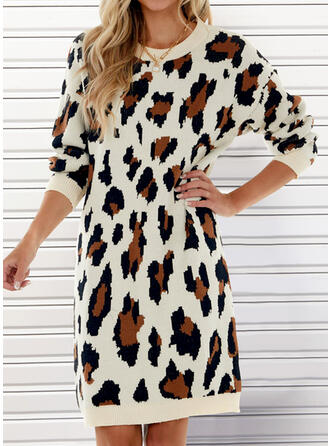 Leopard Round Neck Casual Sweater Dress