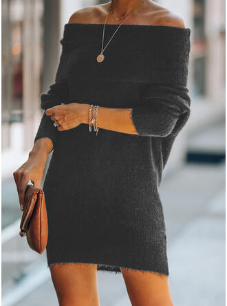 Solid Off the Shoulder Casual Long Sweater Dress