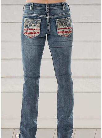 Print Plus Size Long Elegant Sexy Denim & Jeans