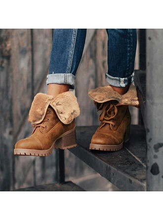Women's Suede Chunky Heel Mid-Calf Boots Martin Boots Round Toe With Lace-up Solid Color shoes
